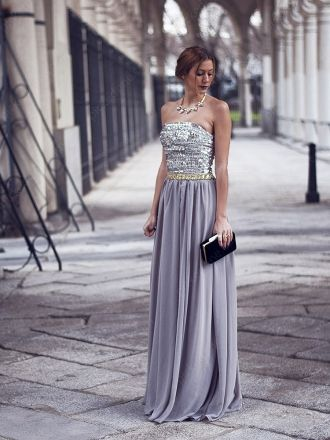 A-line Strapless Chiffon Floor-length Sequins Evening Dress