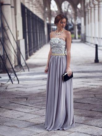 A-line Strapless Chiffon Floor-length Sequins Evening Dress