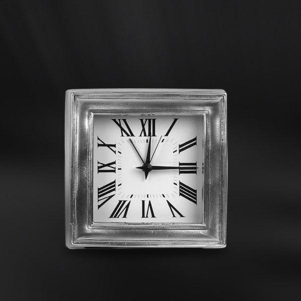 Pewter Alarm Clock - Width: 12 cm (4,7″) - Height: 12 cm (4,7″) - #pewter #alarm #clock #peltro #sveglia #orologio #zinn #wecker #uhr #peltre #tinn #олово #оловянный #gifts #giftware #home #housewares #homewares #decor #design #bottega #peltro #GT #italian #handmade #made #italy #artisans #craftsmanship #craftsman #primitive #vintage #antique