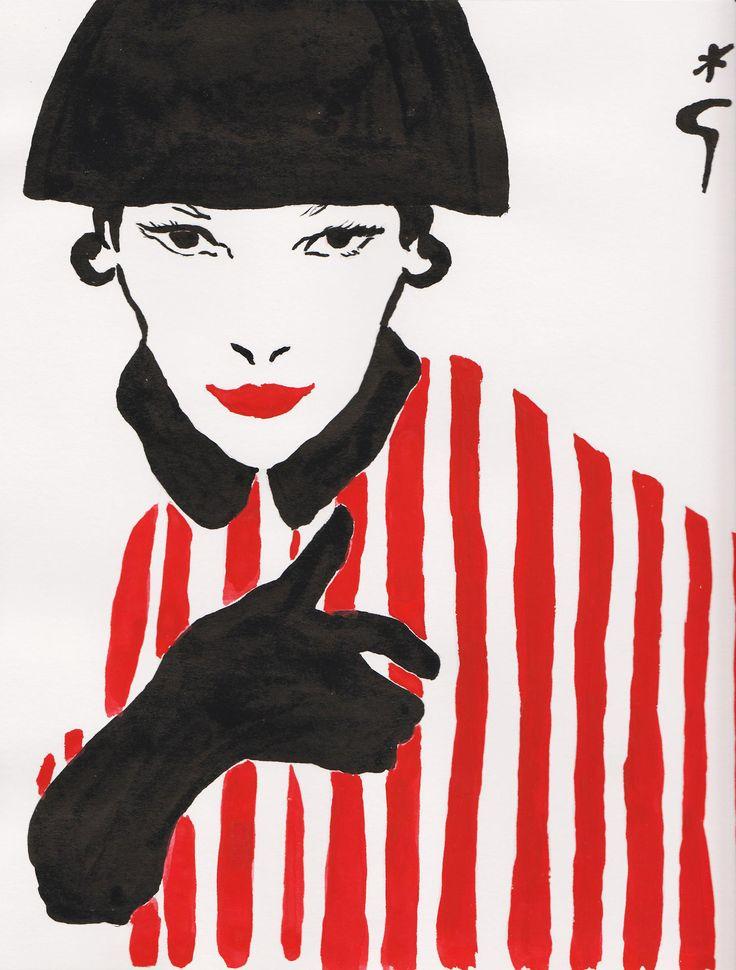 Rene Gruau fashion illustration (please follow minkshmink on pinterest)