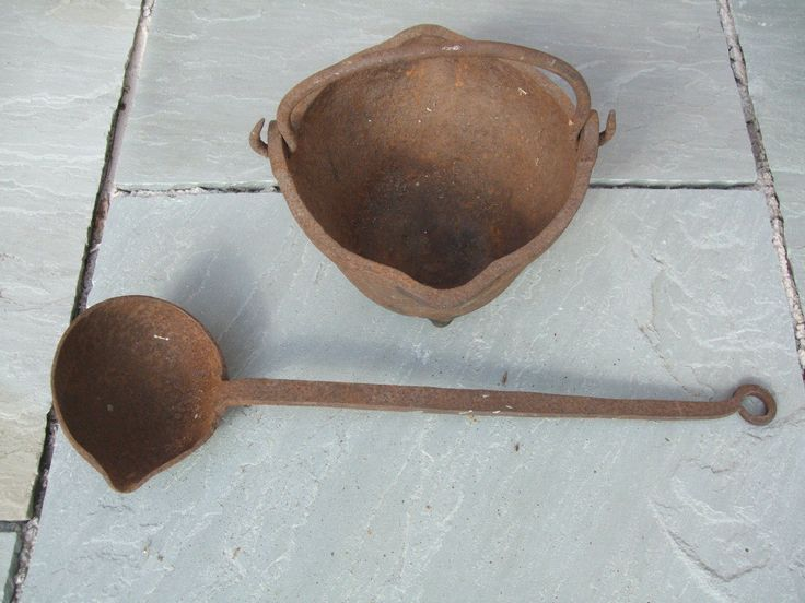 Vintage Industrial Cast Iron Smelting Pot and Ladle | eBay