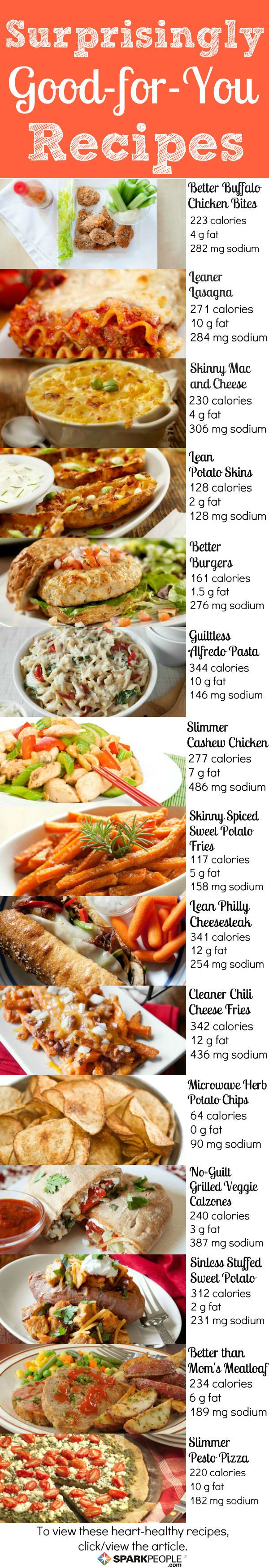 15 Heart-Healthy Comfort Food Swaps: Your favorite foods made healthier! Click for the recipes.  | via @SparkPeople #food #nutrition