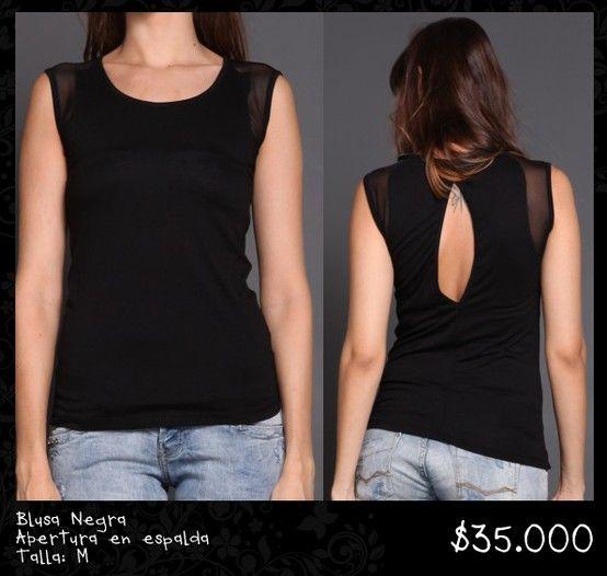 Blusa Negra Abertura en espalda Talla M