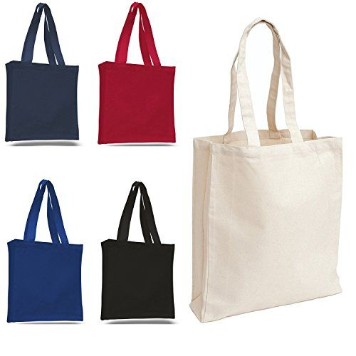Sets of Heavy Canvas Plain Tote Bags, Book Bags, Canvas Tote Bags (12, Mix)