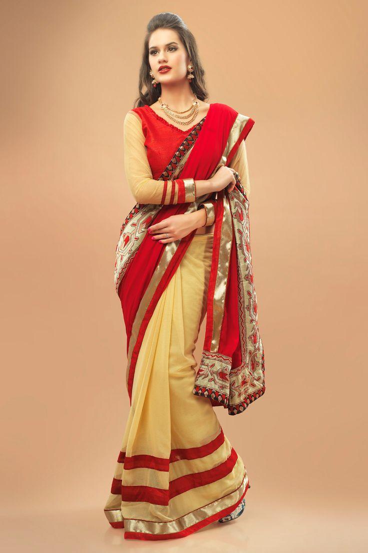 Gorgeous red chiffon saree