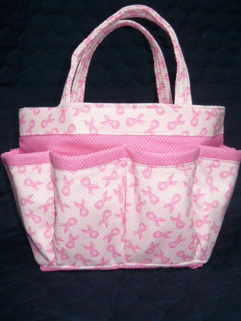 Breast cancer awareness small bingo craft organizer bag for Small garden tool carrier
