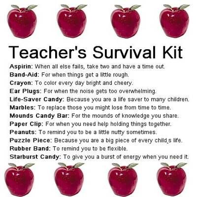 Teacher Survival kit  Take ideas from each to make a new term gift.
