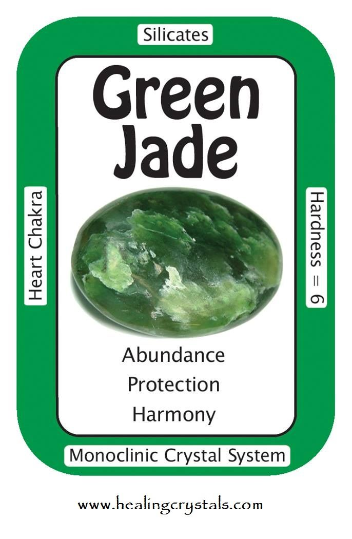 "Green Jade, ""My relationships are filled with harmony and good fortune."" Green…"