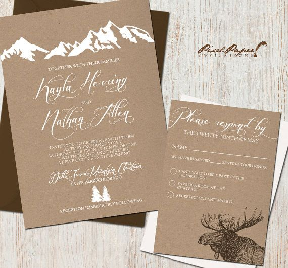 Wedding Invitation Suite: (Mountains, Colorado, Kraft paper, Rustic, Outdoor) Mountain Retreat DIGITAL