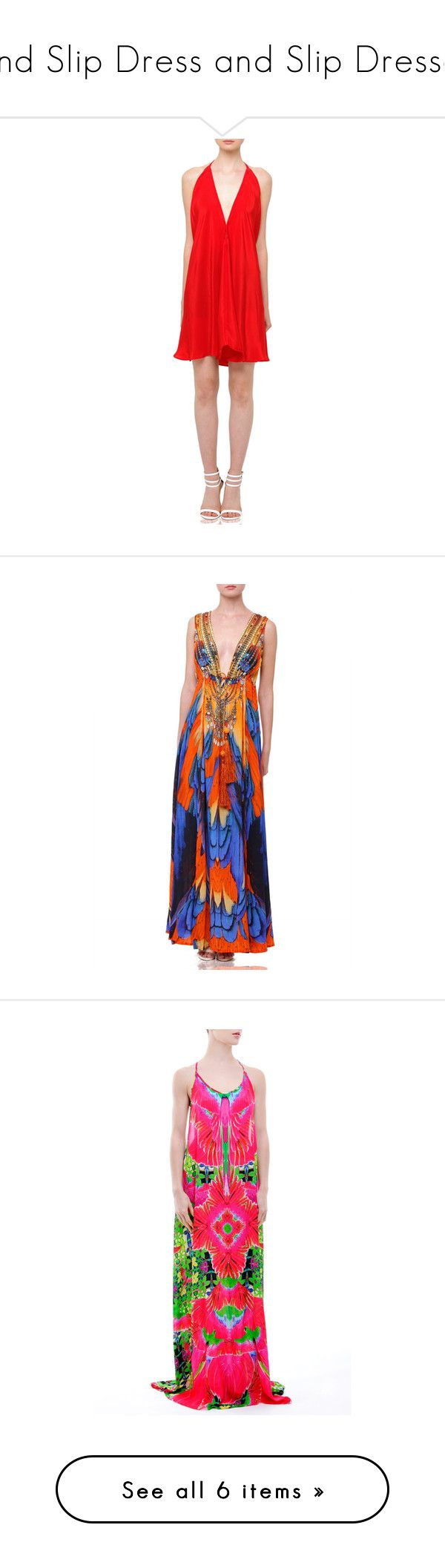 Find Slip Dress and Slip Dresses by shahida-parides on Polyvore featuring women's fashion, dresses, red color dress, short dress, silk dress, animal print dress, red summer dress, day summer dresses, deep v neck red dress and red silk dress