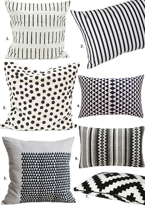 Nice An Inspiring Mix Of Graphic Black And White Throw Pillows Via Design Sponge.