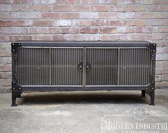 Medios de soporte de la TV la consola mueble Vintage moderno Industrial | Centro de entretenimiento | Audio | HiFi Retro