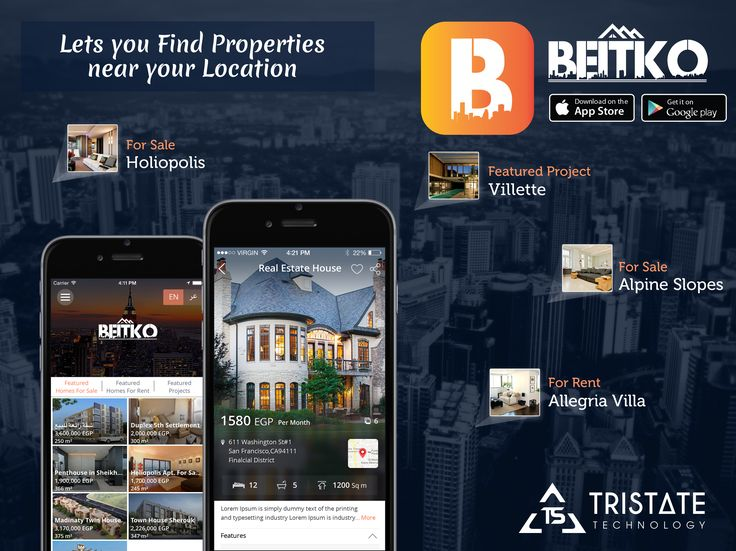 TriState Technology Developed iPhone and Android App for RealEstate business using this App you can Buying, selling and renting your property