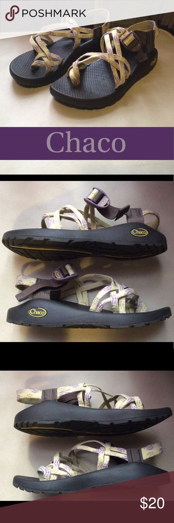 "Chaco Sandals yellow & purple Women's 8 Women's size 8 yellow & purple Chaco Sandals. Medium light wear overall. Sole is in excellent condition. Clean no odors.   Measurements: 10.5"" Long, 4"" at widest part of sole.   Non-smoking environment. Cat-friendly (not really, but he lives here & sneaks in the posh room when we're not looking) environment.  I try to ship within 24hrs of sale. Chaco Shoes Sandals"