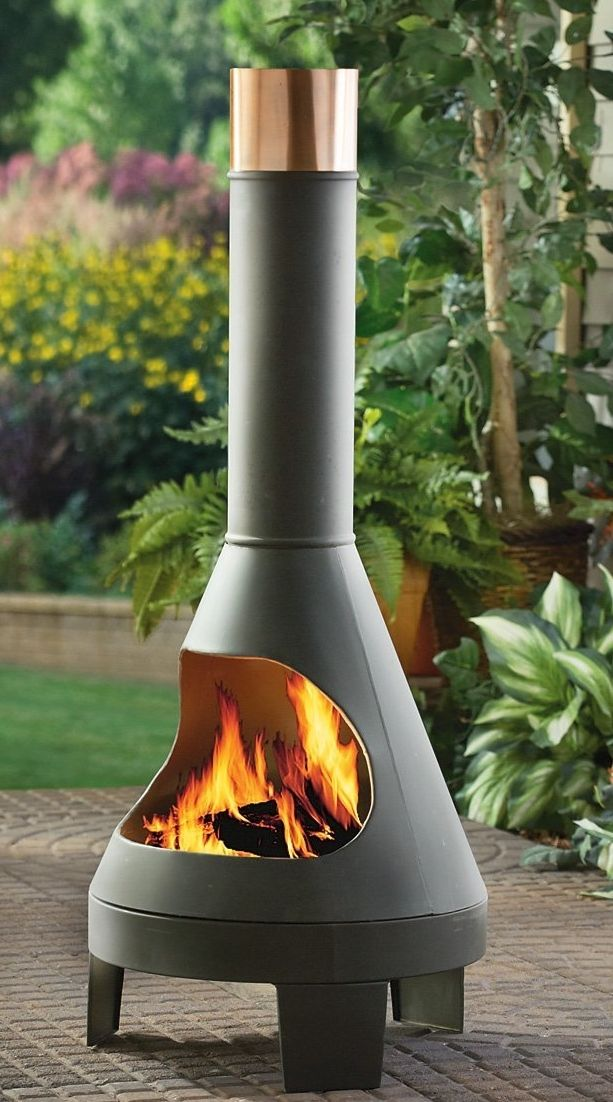 Modern styled chiminea. Great for keeping warm. #outdoors #fireplace #warm