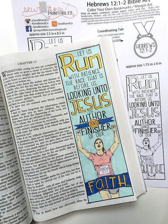 Hebrews 12:1-2 Bible Journaling Bible Verse Art Bible Verse Print by SewBitandCo