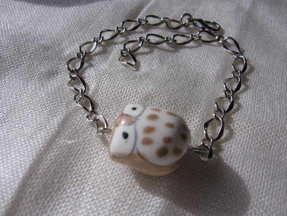 Ceramic Wise Owl  Charm Chain Bracelet  Silver Beige by Thielen, $9.95