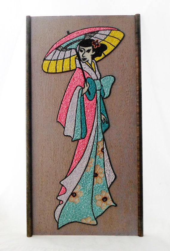 1950's, Asian, Pebble, Wall Hanging, Geisha, Lady, Pebble Art, Gravel, Vintage, Mosaic, Art, Pink, Turquoise, Blue, Yellow, Rock, Painting on Etsy, $80.00