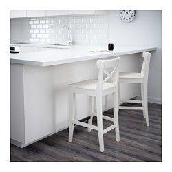 """INGOLF Bar stool with backrest, white - white - 24 3/4 """" - IKEA"""