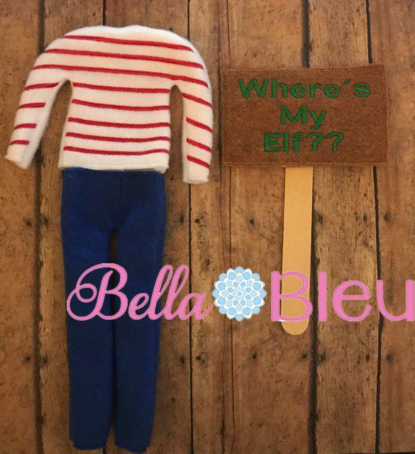 Where's Elf Waldo Shirt sweater and Sigh ith machine embroidery design set