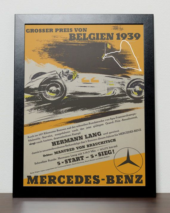 Unique Belgian Grand Prix F1 Poster 1939, available from KobeDesigns.com