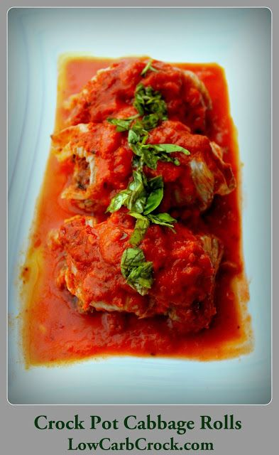 Low Carb Crock Pot Cabbage Rolls -Each roll has 2 grams of net carbs - 12 cabbage rolls in this recipe. Can add or substitute Turkey