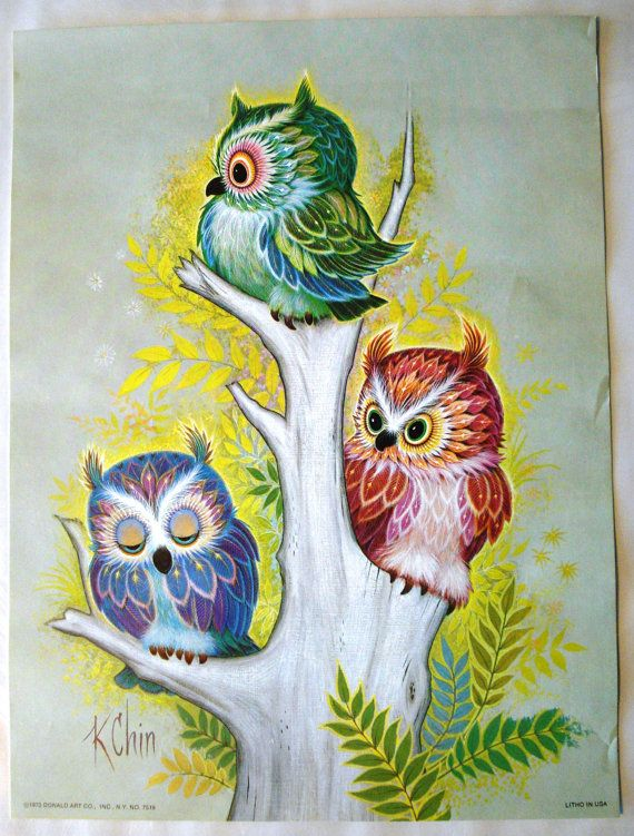 k chin  art | Retro Owl Art K Chin Lithograph 1973 9 x 12 by LuxMeaChristus