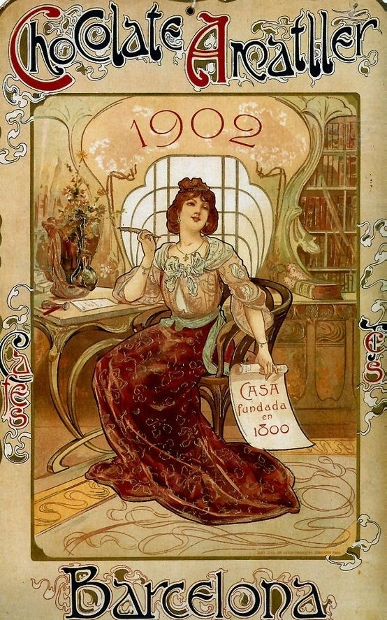 Art Nouveau poster for chocolate, distinguished by ornate detail with a modern twist.