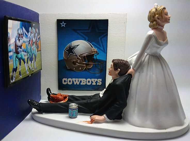 Football Dallas Cowboys Funny Wedding Cake Topper Bride