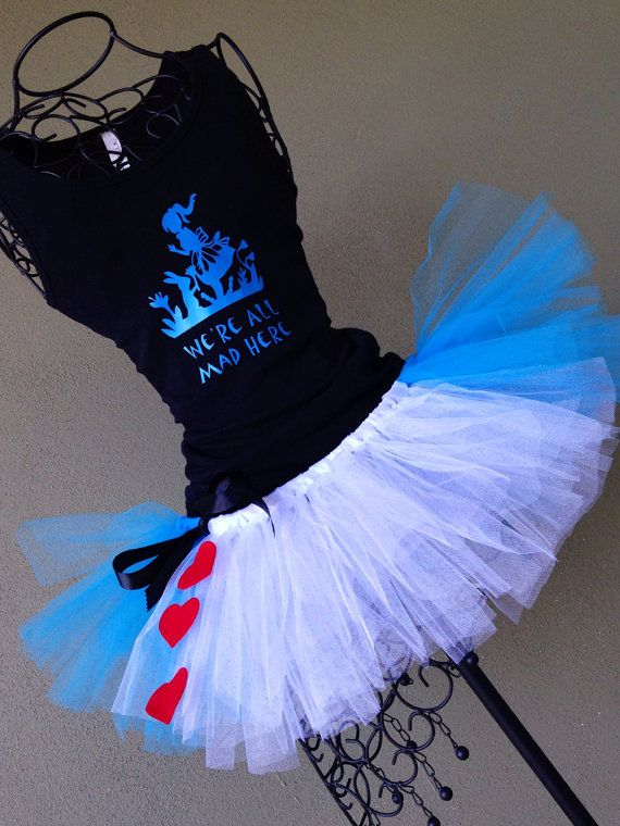 Running Tutu: Disney Princess Inspired Alice and Wonderland Inspired Custom Racing Tank and Pixie Length (9 inch) Tutu on Etsy, $54.95