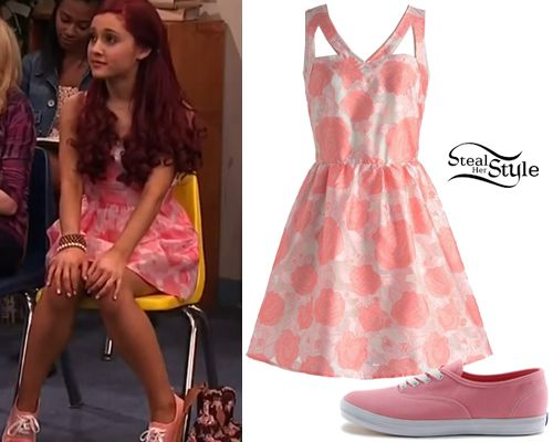 Ariana Grande wears the Birthday Breakfast Dress from Modcloth ($34.99) and a pair of Keds Champion Canvas ($28.99) as Cat Valentine in the episode Momma Goomer of Sam Cat. -Steal Her Style Website