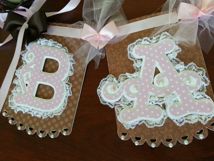 Pink And Brown Baby Banner / Baby Name Banner / Lace Banner