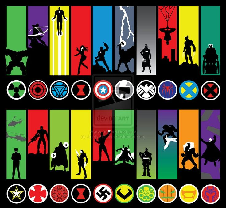 Marvel heroes and villains minimalistic