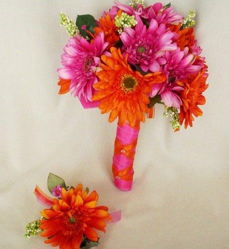 Gerber Daisy Arrangements | Bridal Bouquet Orange Fuschia Hot Pink Gerbera Daisies Wedding Flowers ...