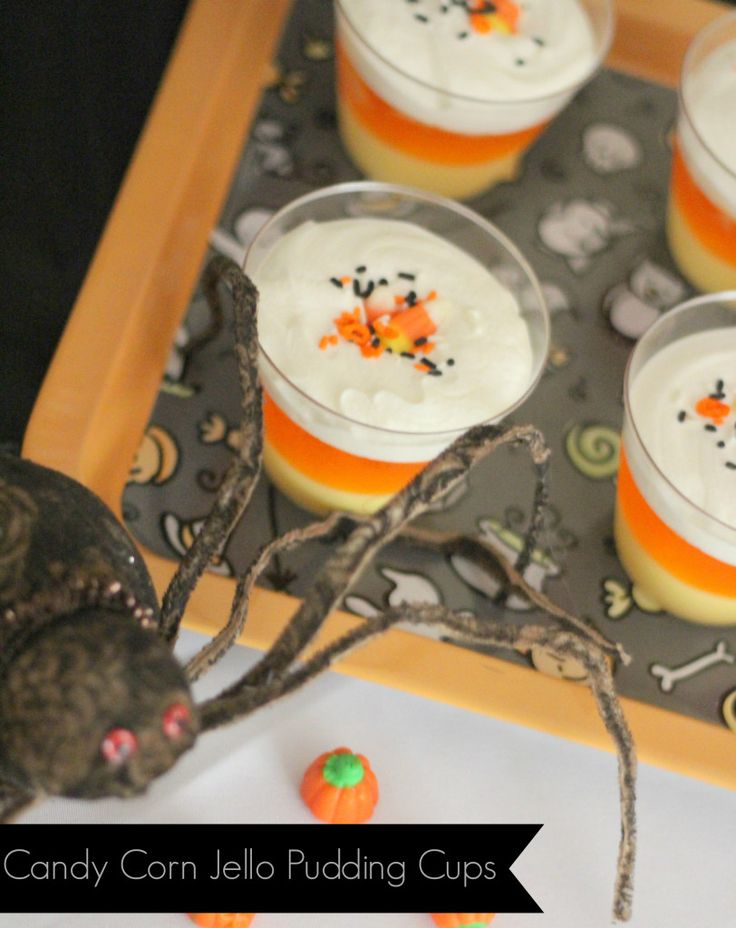 spook tacular halloween treats for kids candy corn jello pudding cups - Pudding Halloween Desserts