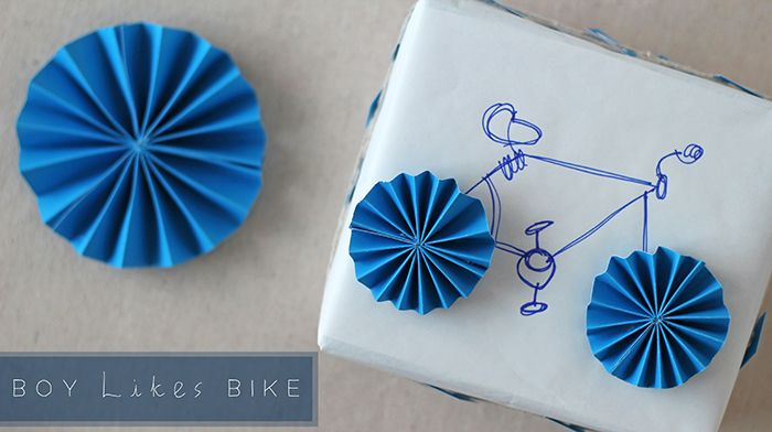 take a break from bows with this easy bicycle gift wrapping DIY