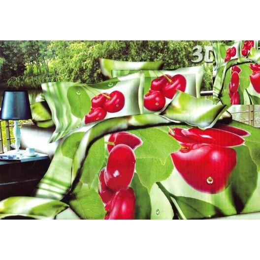 Povlak na postel zelené barvy s červeným květem - dumdekorace.cz