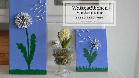 Eine Bastelanleitung für eine wunderschöne und einfache Pusteblume aus Wattestäbchen. Ein tolles Projekt für Regentage (und eine tolle Geschenkidee)