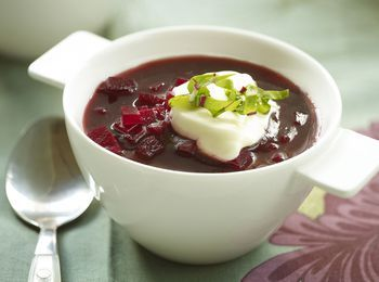 This beet and cabbage borscht is packed with red beets, onions, cabbage, and white beans--all the better to make it through a cold winter night.