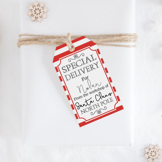 Personalized Gift Tags From Santa Claus - Custom Kids Christmas Gift Tags - Holiday Gift Tags For Kids - DIY Printable Christmas Gift Tags by WhiteEarsDesigns on Etsy https://www.etsy.com/ca/listing/476439064/personalized-gift-tags-from-santa-claus