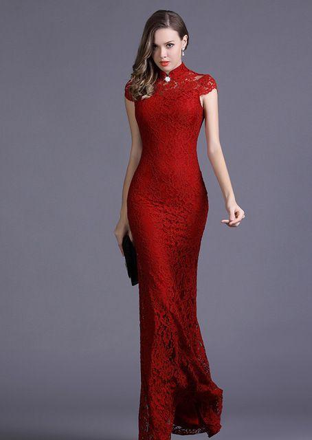 5824 недоуздок-образным воротник сумка длинными рукавами стрейч кружева фиштейл тонкий чонсам платье
