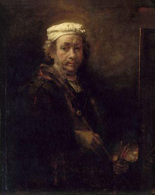 Rembrandt Van Rijn, dit Rembrandt - Autoportrait au chevalet - 1660 - huile sur toile - 111 x 90 cm - Musée du Louvre