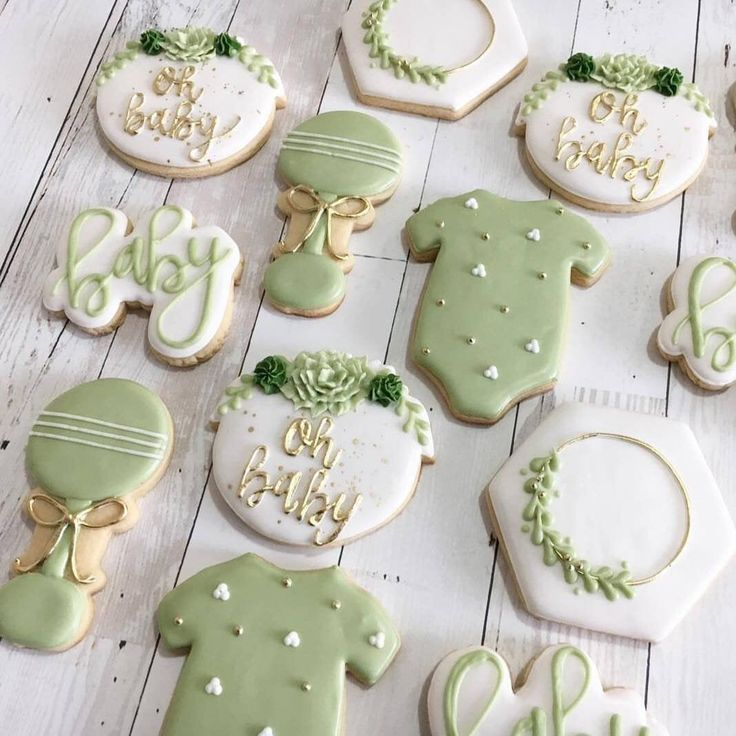 Succulent Baby Shower Cookies | Oh Baby | Greenery Botanical Floral Rustic Gender Neutral | Baby Onesie Rattle Hexagon Cactus