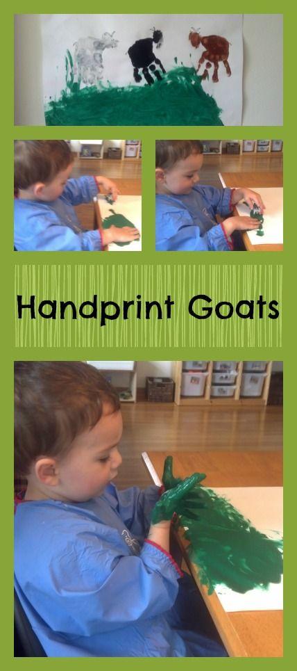 3 Billy Goats Gruff Activities~Handprint Goats