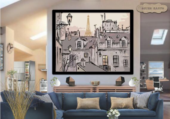 Vintage Hand drawn old Paris street beautiful by AfterEarth