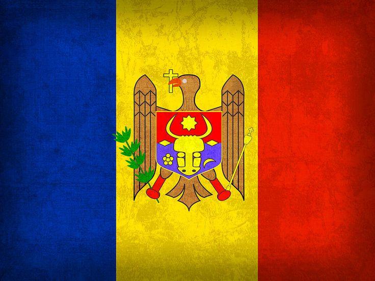 Moldova Flag Vintage Distressed Finish Mixed Media