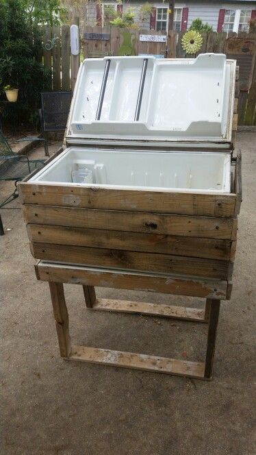 An old repurposed mini fridge that did not work so I took it and made a cooler out of it. from old pallet wood