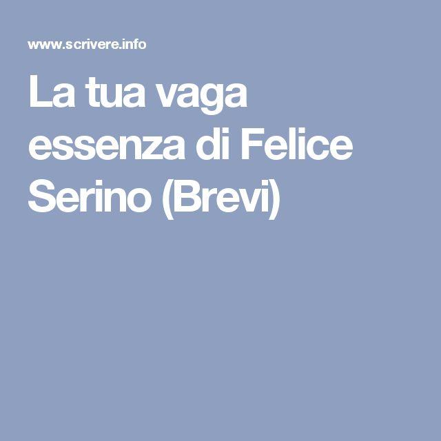 La tua vaga essenza di Felice Serino (Brevi)