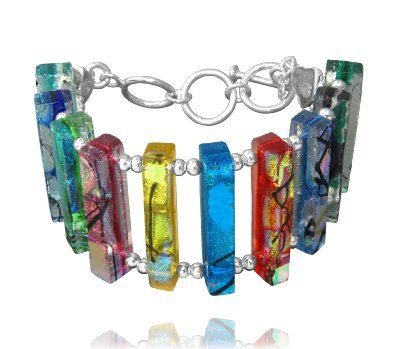 Dichroic Glass Multi-Color Bars Bracelet