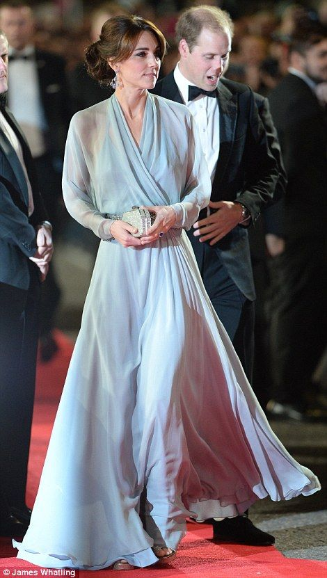 dailymail: World Premiere of Spectre, October 26, 2015-the Duke and Duchess of Cambridge; Catherine wore a Jenny Packham dress accessorized with her Jimmy Choo Vamp sandals, Jenny Packham 'Casa' clutch and Robinson Pelham pagoda style earrings of blue topaz and diamonds in white gold, borrowed from her mother
